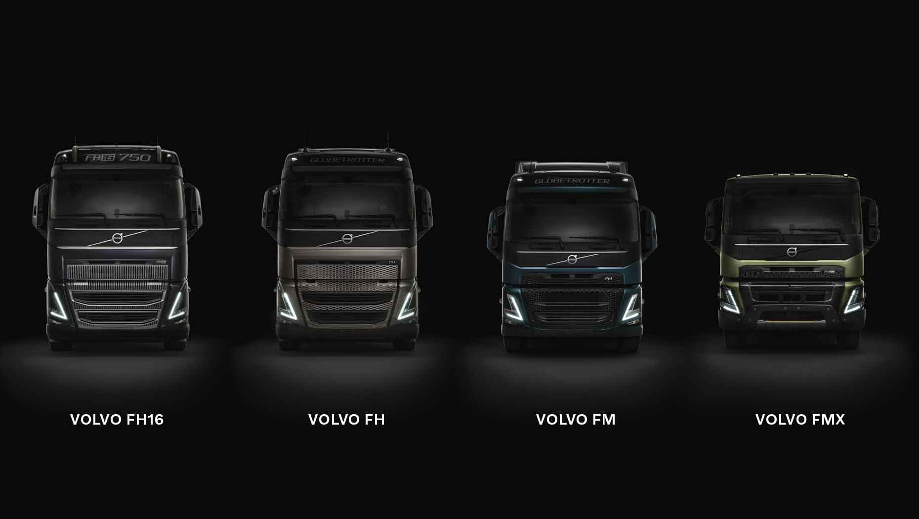Front view of the Volvo FH16, Volvo FH, Volvo FM and Volvo FMX with a dark background