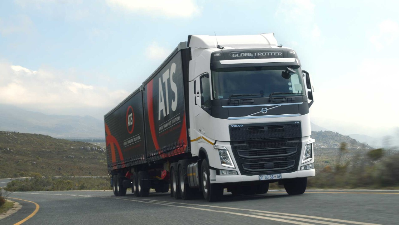 Close-up of the Volvo FH ATS truck on the road